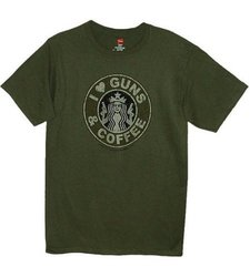I Love Guns & Coffee Men's T-Shirt - Military Green - Size: Large