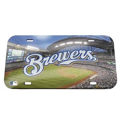 WinCraft MLB Milwaukee Brewers Stadium Crystal Mirror License Plate