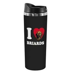 """Tree-Free Greetings """"I Heart Briards"""" 14-oz Stainless Steel Tumbler"""
