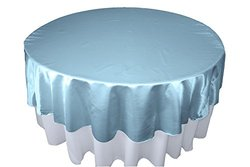 "LA Linen 72"" Bridal Satin Round Tablecloth - Light Blue"