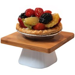 "Hamptons Collection 10"" Porcelain and Bamboo Serving Stand"