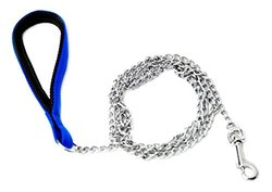 Oliver & Iris Dog Chain Leash, Padded Handle, Blue, Large Chainlinks, 4ft Length