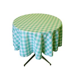 LA Linen Poly Checkered Round Tablecloth, 58-Inch, Mint/White