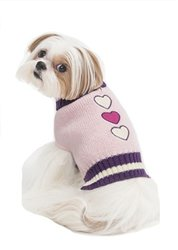 Fashion Pet Embroidered Turtleneck Dog Sweater - Pink - Size: Medium