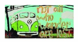 Creative Co-Op Not All Who Wander are Lost Canvas Wall Plaque, 16 by 7.75-Inch