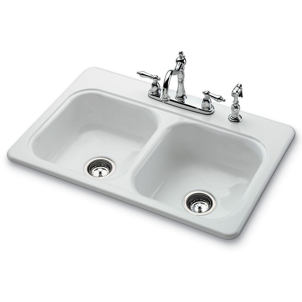 Garnet II Top Mount 4-Hole Self Rimming 2-Bowl Kitchen Sink in White ...
