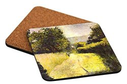 Rikki Knight Georges Pierre Seurat Art Path Design Square Beer Coasters