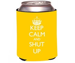 """Rikki Knight """"Keep Calm and Shut Up"""" Beer Can Soda Drinks Cooler Koozie, Yellow Color Design"""