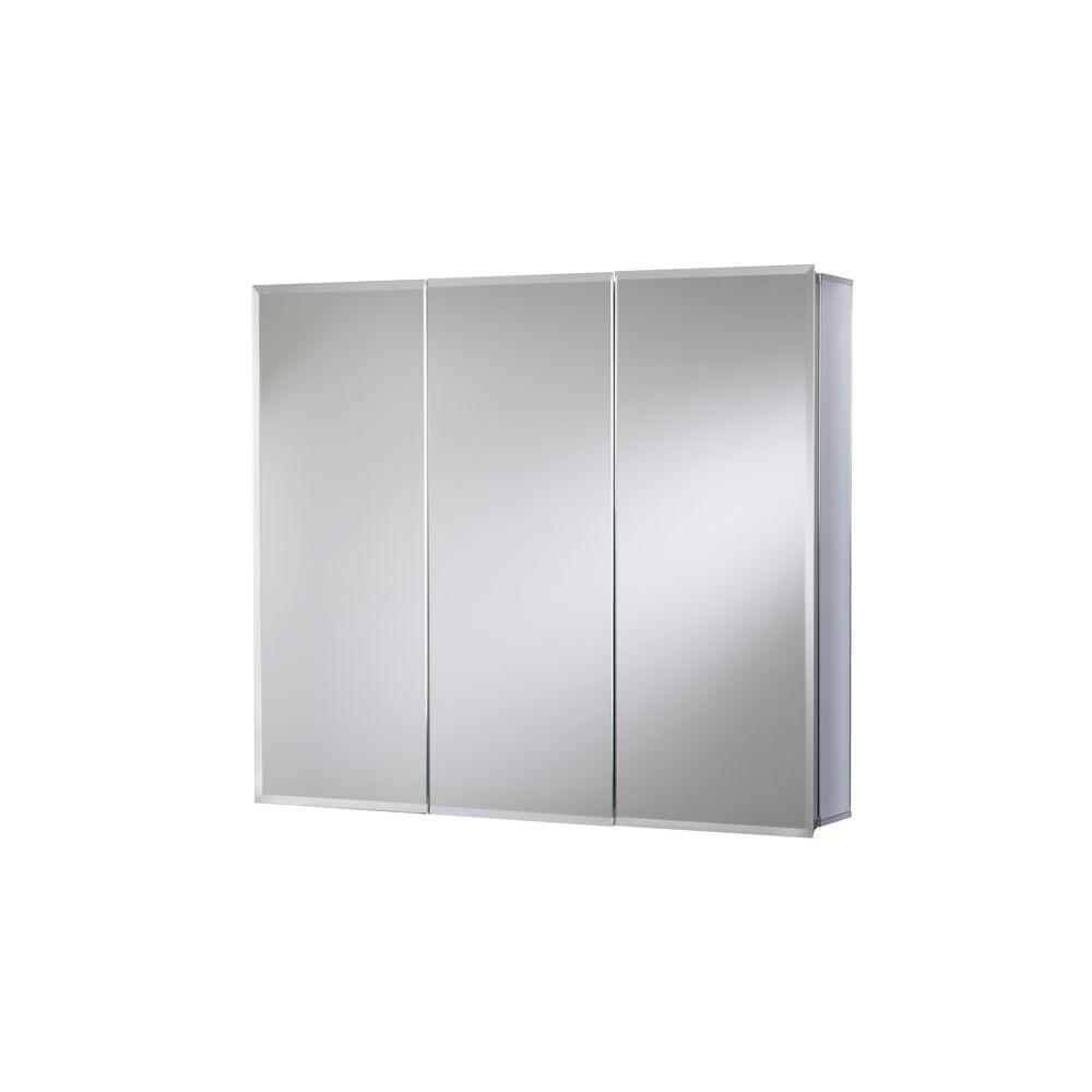 Croydex 30x26 Recessed Surface Mount Mirrored Medicine Cabinet Aluminum