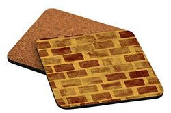 "Rikki Knight ""Grunge Brown Gold Stones Design"" Square Beer Coasters"