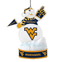 NCAA West Virginia Mountaineers LED Snowman Ornament, White, 3.5""