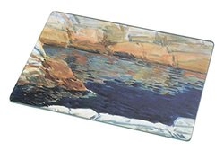Rikki Knight RK-LGCB-2955 Childe Hassam Art Beryl Look at The Pond Glass Cutting Board, Large, White