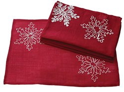 Xia Home Snowy Noel Embroidered Christmas Placemats - Set of 4