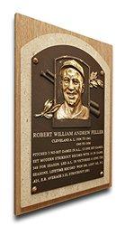 MLB Cleveland Indians Bob Feller Baseball Hall of Fame Plaque - Brown
