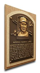 MLB Cleveland Indians Al Lopez Baseball Hall of Fame Plaque -Brown -Size:M