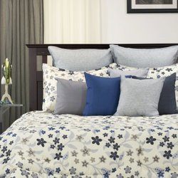LJ Home Floral Meadow 3-Piece Comforter Set - Ivory/Blue/Onyx - Size: King