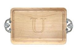 """BigWood Boards Cutting Board Maple Wood Serving Tray - """"U"""""""