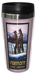 Tree-Free Greetings sg23285 Vintage Vermont Cross Country Skiing by Paul A. Lanquist Stainless Steel Sip 'N Go Travel Tumbler, 16-Ounce, Multicolored