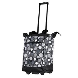 Olympia Fashion Rolling Shopper Tote - Black Polka Dots - Size: One