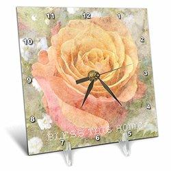 "Peach Rose Bless Desk Clock - Size: 6*6"""