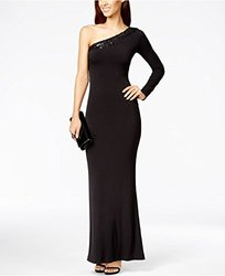 Calvin Klein One-Shoulder Sequin Evening Gown - Black - Size: 8
