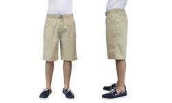 Harvic Men's 100% Cotton Belted Flat-Front Shorts - Khaki - Size: 38