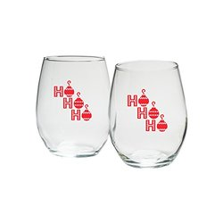 Kate Aspen Holiday Ho Ho Ho in Red Print Stemless Wine Glass - Set of 12