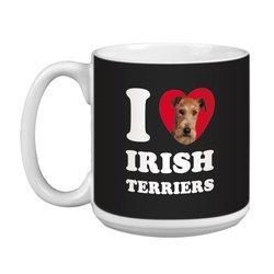 Tree Free Greetings XM29068 I Heart Irish Terriers Artful Jumbo Mug, 20-Ounce