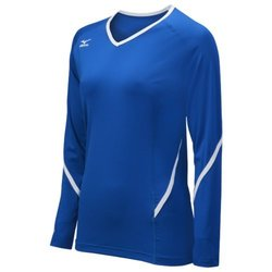 Mizuno Women's Youth Techno Generation Long Sleeve Jeresy, Royal/White, Medium