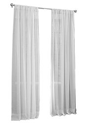 "LA Linen Sheer Voile Drape Panel (Pack of 1), 96 by 118"", White"