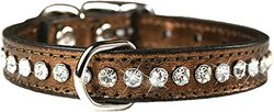 "OmniPet 16"" Leather and Crystal Dog Collar - Metallic Bronze"