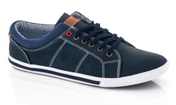 Franco Vanucci Men's Lace Up Sneakers - Navy - Size: 12