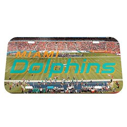 "NFL Miami Dolphins Stadium Crystal Mirror License Plate, 6 x 12"""