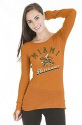 NCAA Miami Hurricanes Women's Layla Long Sleeve Tee - Medium - Orange