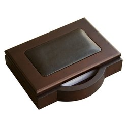 Dacasso Walnut and Leather Memo Pad Holder, 4-Inch by 6-Inch