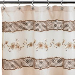 "Popular Home The Veronica Collection Shower Curtain, 70 by 72"", Beige"