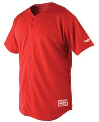 Rawlings Men's Premium Full Button RJ140 Jersey, Scarlet, 50