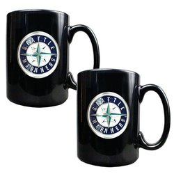 MLB Seattle Mariners Two Piece Black Ceramic Mug Set - Primary Logo