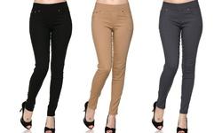 EAG 3 Pack Women's Slimming 5 Pocket Skinny Pants - Multi - Size: S/M