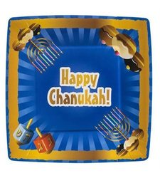 Blue Sky 20 Count Happy Chanukah Square Paper Plates - 10.5-Inch