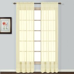 "American Curtain Semi Sheer Window Curtain - Yellow - Size: 84"" x 54"""