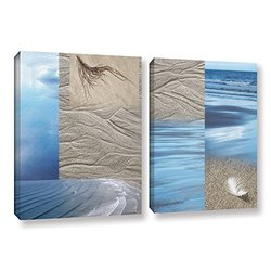 """ArtWall Cora Niele's Sand Sea 2 Piece Gallery Wrapped Canvas Set, 24 by 36"""""""