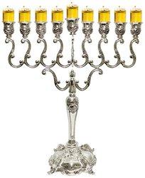 """Majestic Giftware Hanukkah Menorah - Silver Plated - 14"""""""