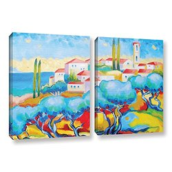 "ArtWall Susi Franco's Greece By the Sea Canvas Set - 24""X 36"" - 2Piece"