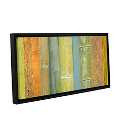 """ArtWall Cora Niele's Bamboo Gallery Wrapped Floater Framed Canvas - Green/Orange - 12"""" X 24"""""""