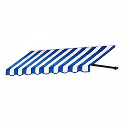 "Awntech 3' Dallas Retro Window Entry Awning - 24 x 42"" - Bright Blue/White"