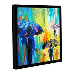 ArtWall Susi Franco's Turquoise Rain Gallery Wrapped Floater-Framed Canvas, 14 by 14""