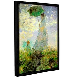 """ArtWall Claude Monet's Lady with Umbrella in Field Framed Canvas - 14""""X18"""""""