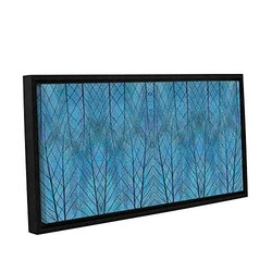 "ArtWall Cora Niele's Leaf Design Gallery Framed Canvas - 12"" X 24"" - Blue"