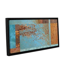 "ArtWall Cora Niele's Collage Gallery Framed Canvas - 12"" X 24"" - Blue/Brown"